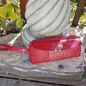"Handbags - Red Vegan Leather Wristlet or Wallet, 9"" Long"